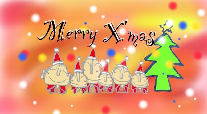 お地蔵さんのクリスマスカード無料ダウンロード