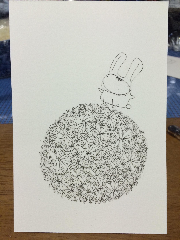 花とウサギのイラスト 筆ペン塗り絵 下描き編