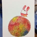 花とウサギのイラスト 筆ペン塗り絵 筆ペン編