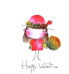 バレンタインカード用手描きイラスト素材