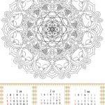 2017年 猫の曼荼羅塗り絵カレンダー 無料