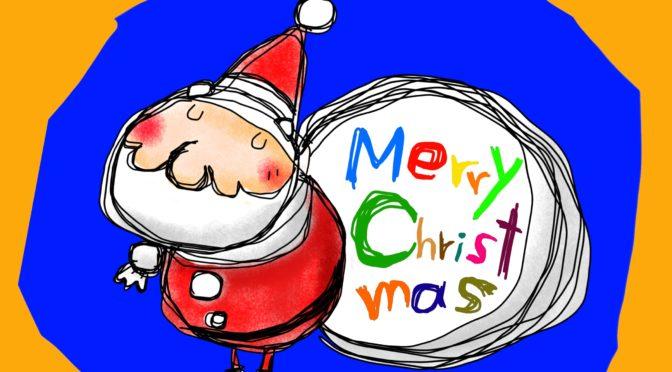 サンタクロースのクリスマスカード用素材