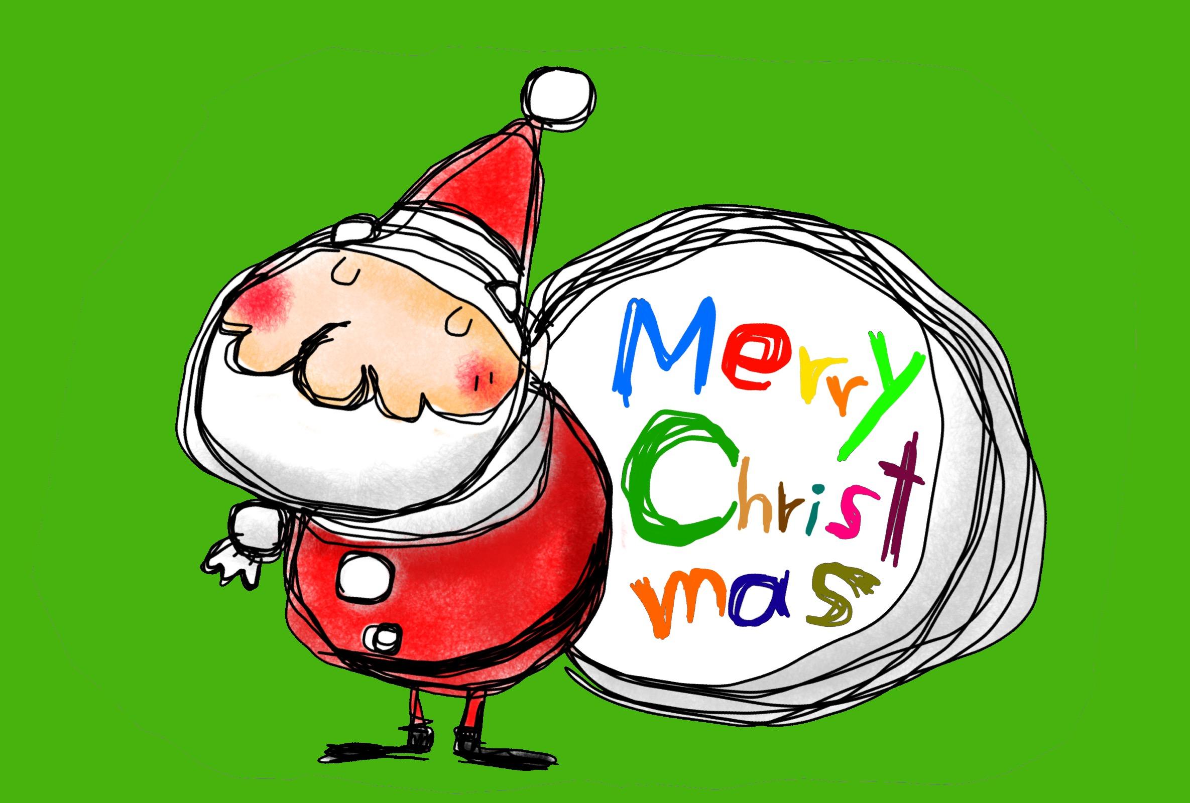 サンタクロースのイラスト クリスマスカード グリーン
