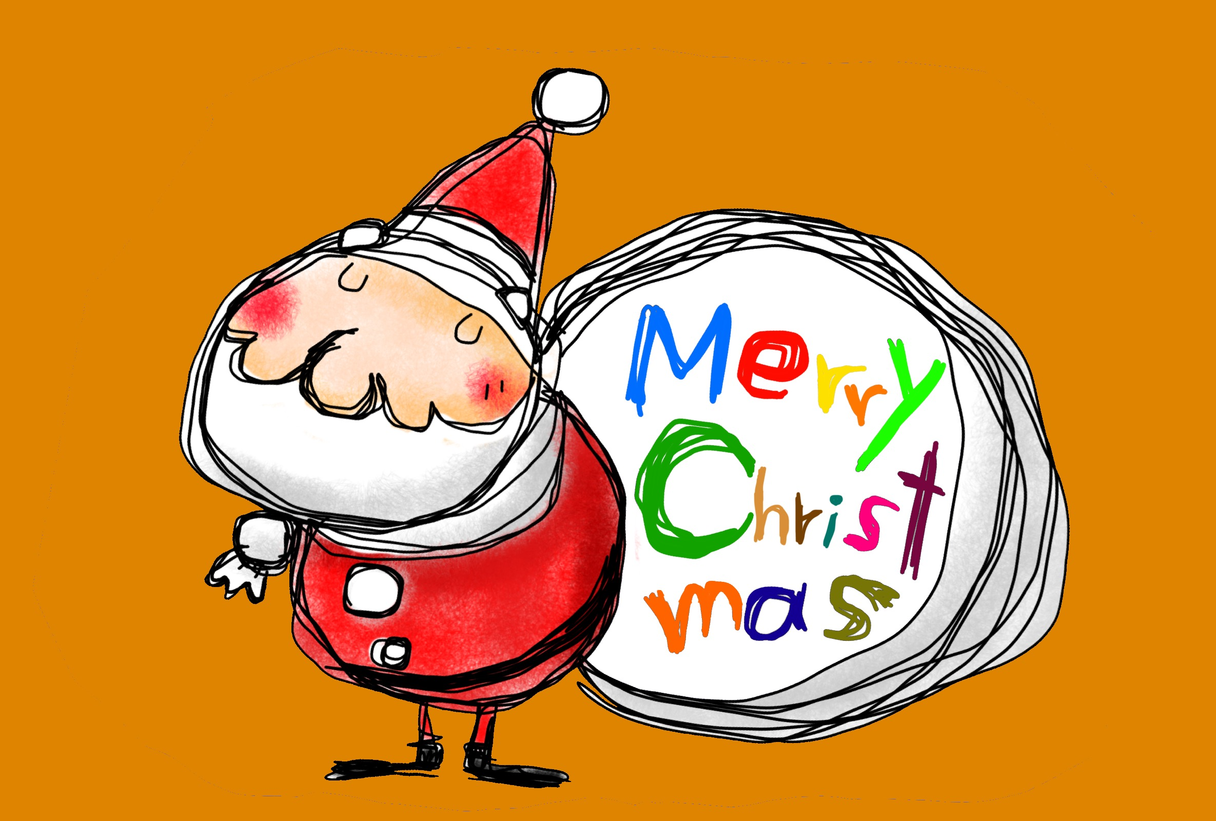 サンタクロースのイラスト クリスマスカード オレンジ