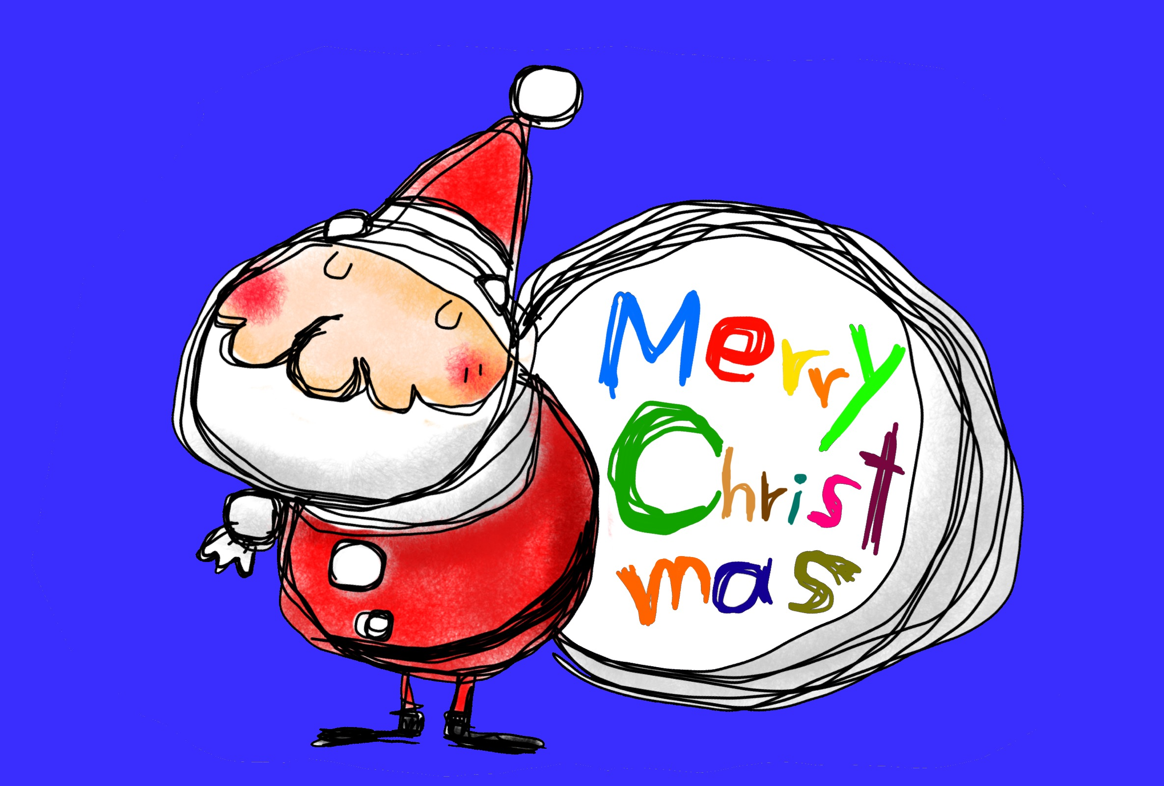 サンタクロースのイラスト クリスマスカード ブルー
