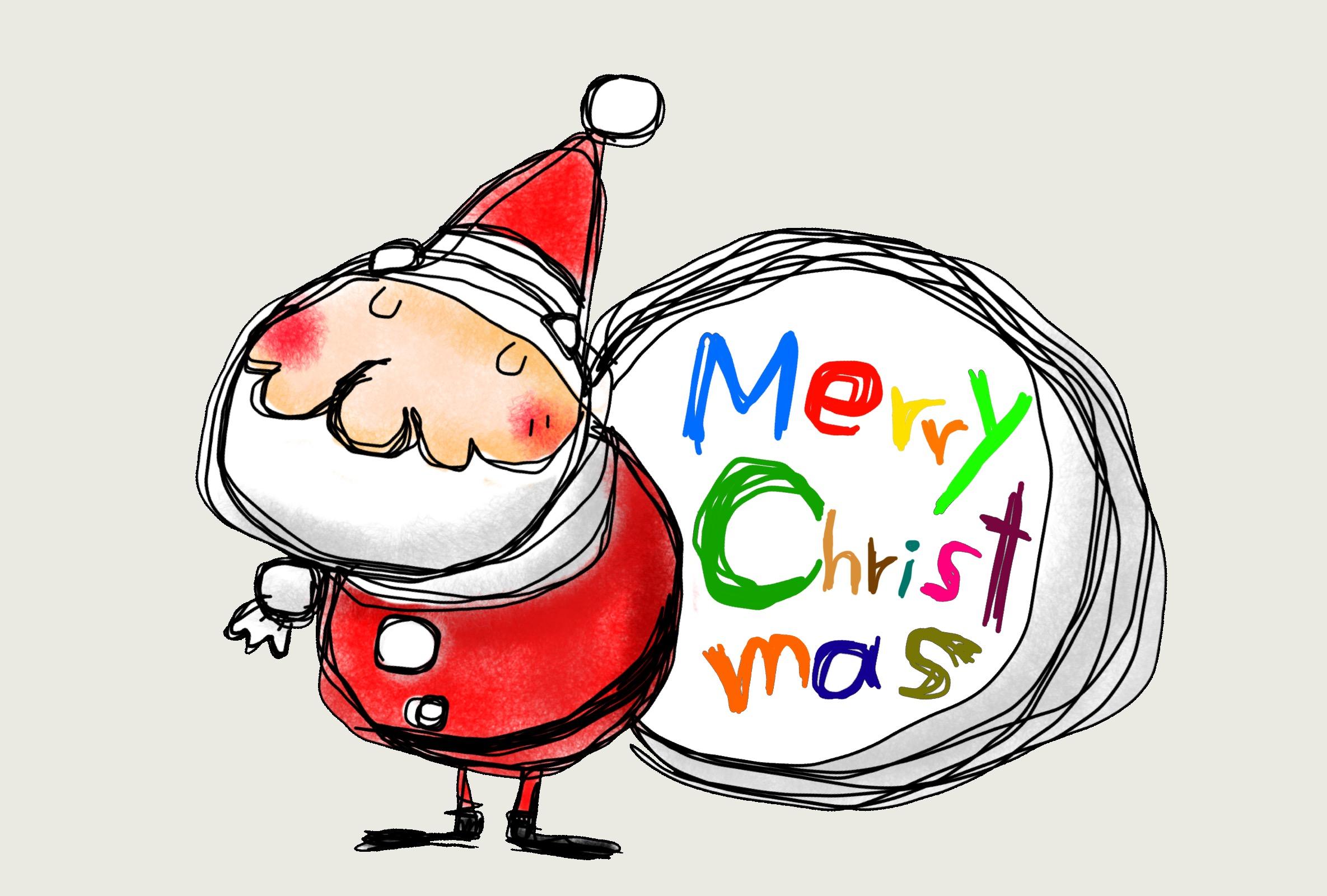 サンタクロースのイラスト クリスマスカード グレー