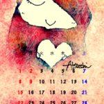 iPhone壁紙カレンダー ハートと女の子無料ダウンロード