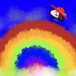 虹を渡る女の子のイラスト