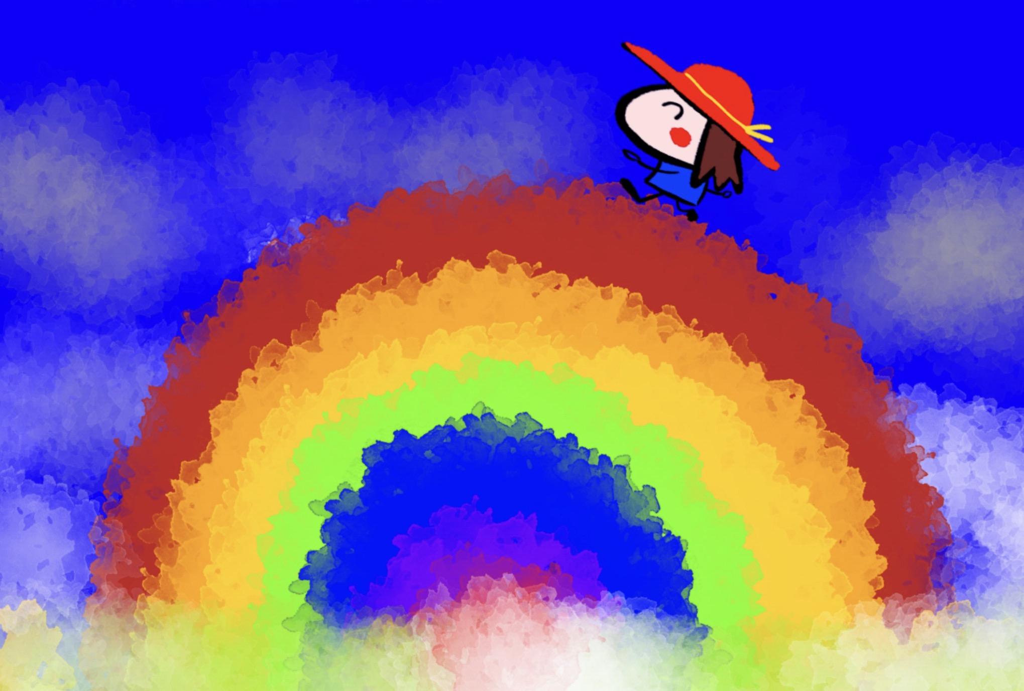 虹を渡る女の子