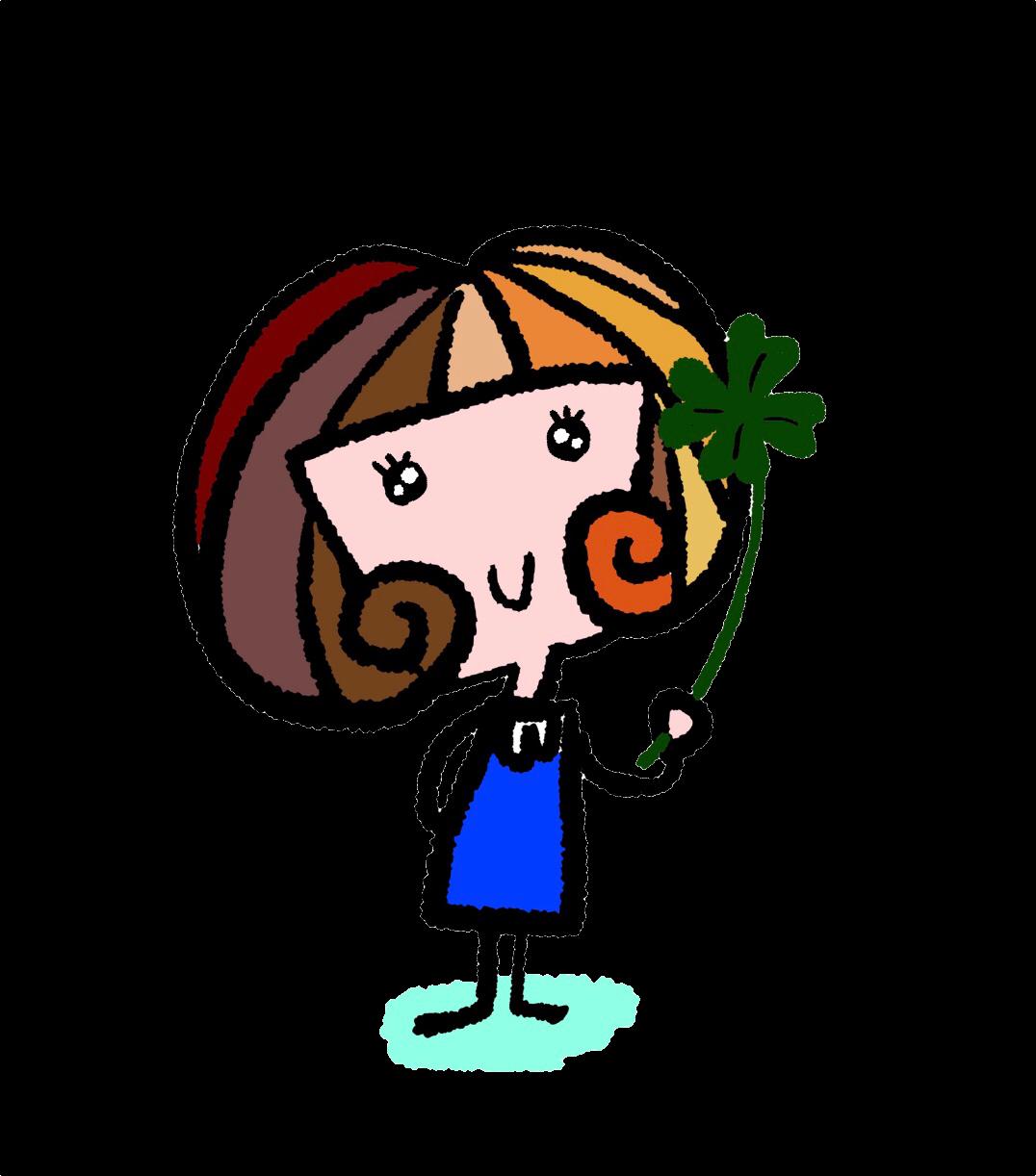女の子と四つ葉のクローバーのイラスト