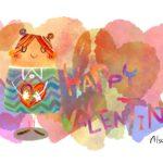 バレンタインカード ハートを持った女の子のイラスト素材