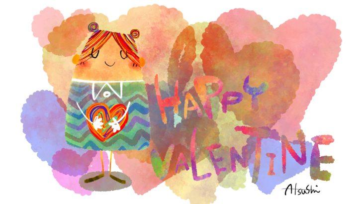 バレンタインカード無料素材 女の子
