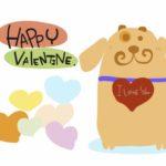 バレンタインカード犬とハートのイラスト素材 無料