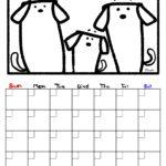 犬カレンダーぬりえ日付フリー無料ダウンロード 色塗ったやつも作ってます。