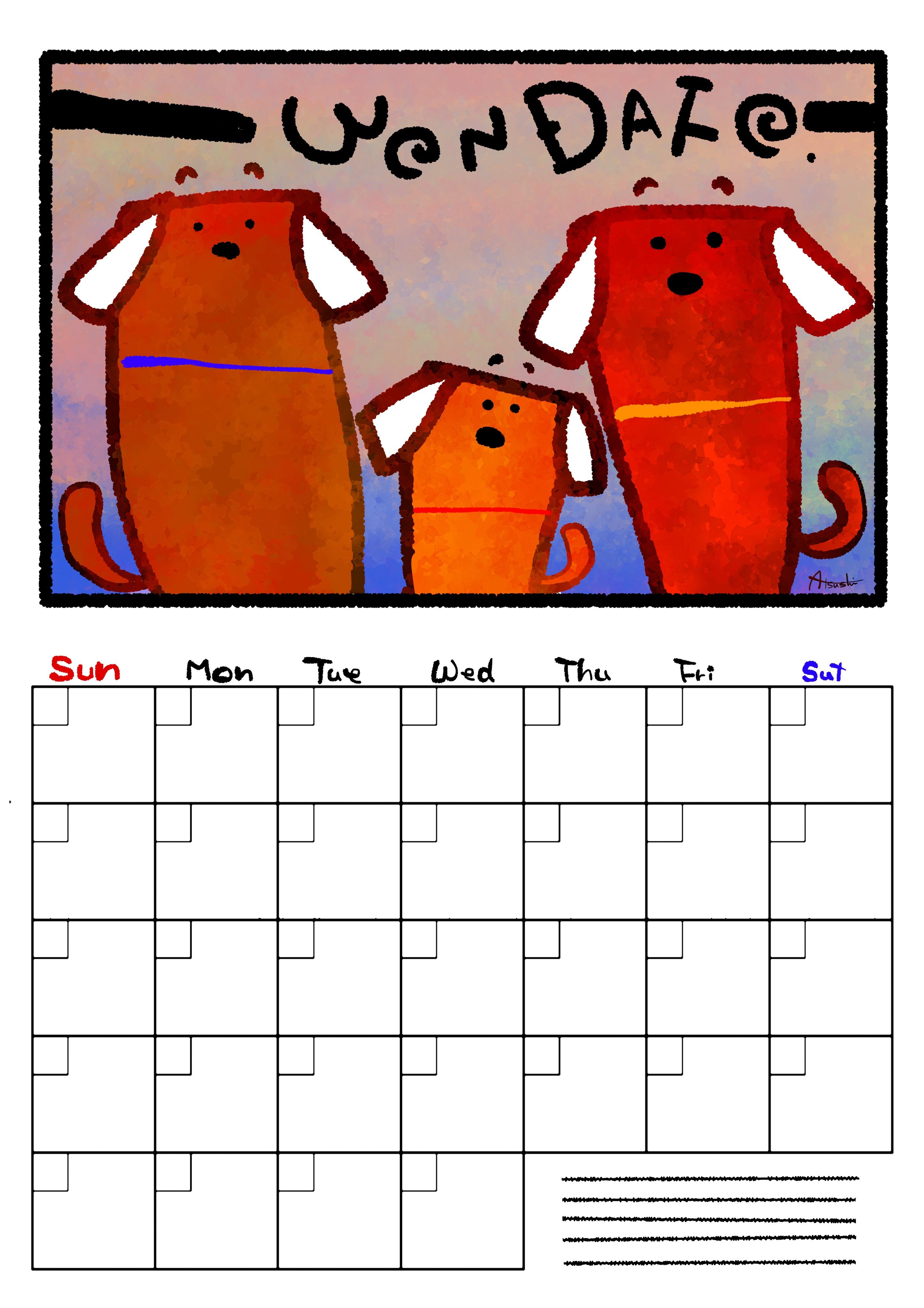 犬カレンダーフリー